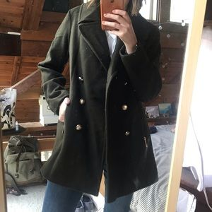Vince Camuto olive coat, removable faux fur collar
